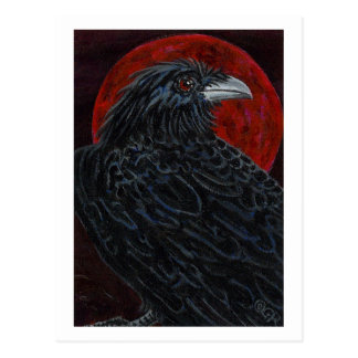 Blood Moon Raven Postcard