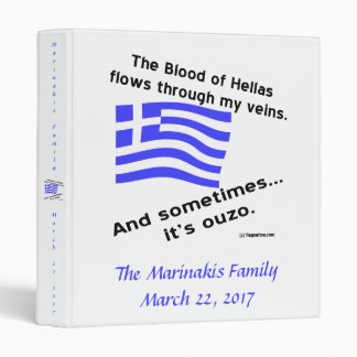 Blood of Hellas and Ouzo Name and Date 3 Ring Binders