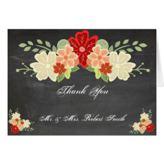 Blood Orange Flower Chalkboard Wedding Thank You Card