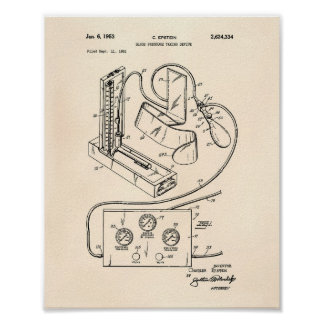 Blood Pressure 1951 Patent Art Old Peper Poster