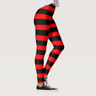 Blood Red and Black Stripes Leggings