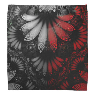 Blood Red & Black Fractal Feathers of the Vampire Bandana
