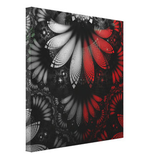 Blood Red & Black Fractal Feathers of the Vampire Canvas Print