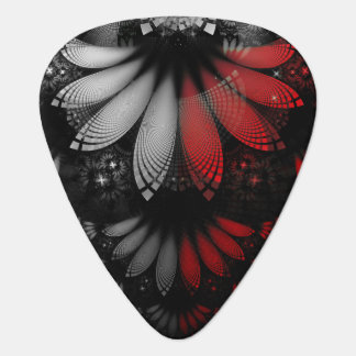 Blood Red & Black Fractal Feathers of the Vampire Guitar Pick