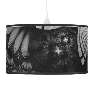 Blood Red & Black Fractal Feathers of the Vampire Pendant Lamp