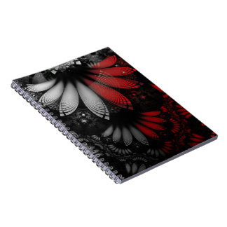 Blood Red & Black Fractal Feathers of the Vampire Spiral Notebook