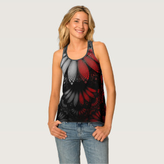 Blood Red & Black Fractal Feathers of the Vampire Tank Top