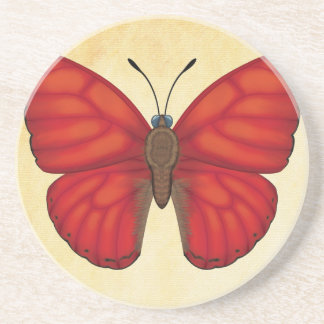 Blood Red Glider Butterfly Beverage Coasters