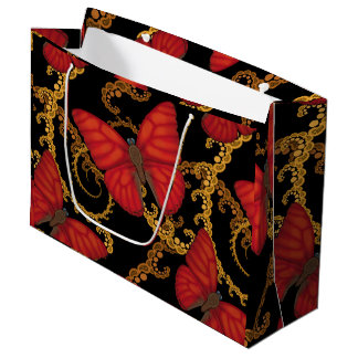 Blood Red Glider Butterfly Large Gift Bag
