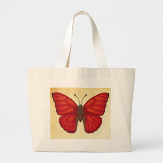 Blood Red Glider Butterfly Large Tote Bag