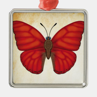 Blood Red Glider Butterfly Metal Ornament