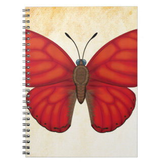 Blood Red Glider Butterfly Spiral Notebook