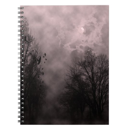 Blood Red Haunted Sky with Ravens Spiral Note Book
