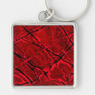 BLOOD RED ROYALE ~ Silver-Colored SQUARE KEYCHAIN