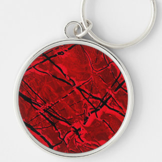 BLOOD RED ROYALE ~ Silver-Colored ROUND KEYCHAIN