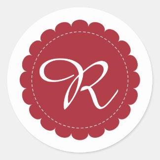 Blood Red Scalloped Circle Cursive Monogram Classic Round Sticker