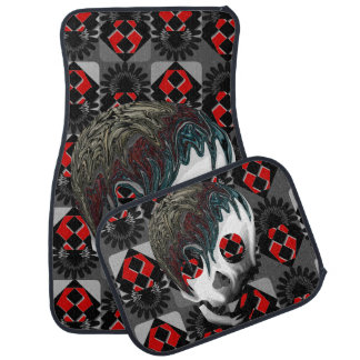 Blood-red skulls car mat