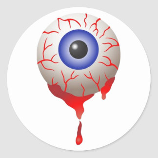 Blood Shot Eye Round Sticker