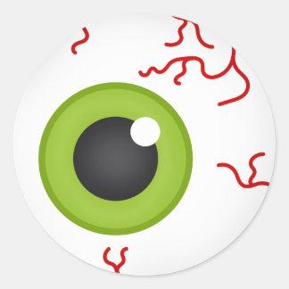 Blood shot Green Eyeball Offset Halloween Sticker