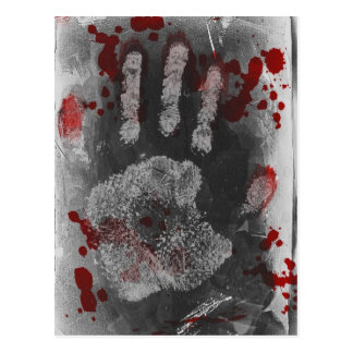 Blood Splatter Handprint Postcard