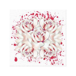 Blood splattered roses canvas print