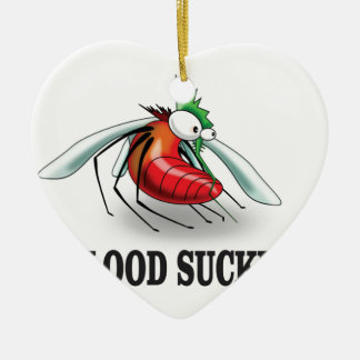 blood suckers insect ceramic heart ornament