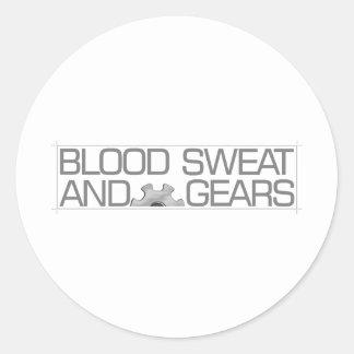 blood sweat & gears 3 classic round sticker