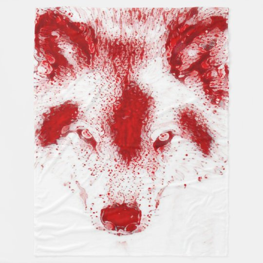 Blood Wolf Fantasy Wildlife Art Fleece Blanket