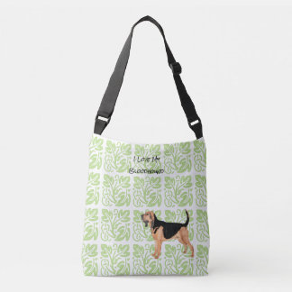 Bloodhound and Green Print [Med.] Crossbody Bag