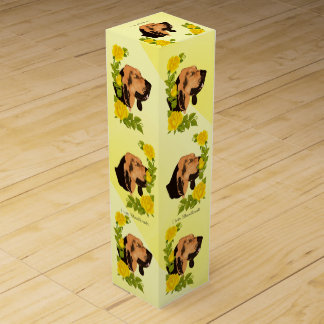 Bloodhound and Yellow Roses Wine Bottle Box