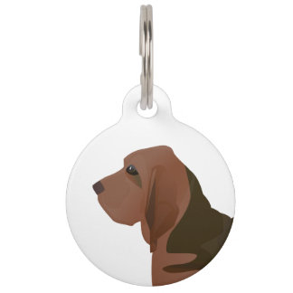 Bloodhound Basic Breed Illustration Silhouette Pet Name Tag