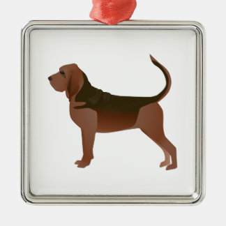 Bloodhound Basic Breed Illustration Silhouette Silver-Colored Square Ornament