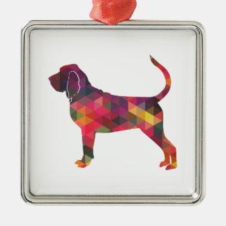 Bloodhound Colorful Geo Pattern Silhouette Multi Silver-Colored Square Ornament