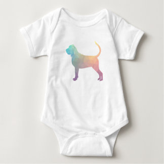 Bloodhound Colorful Geo Pattern Silhouette Pastel Baby Bodysuit