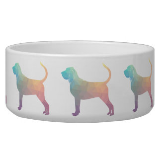 Bloodhound Colorful Geo Pattern Silhouette Pastel Dog Water Bowl