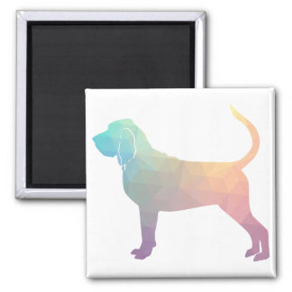 Bloodhound Colorful Geo Pattern Silhouette Pastel Magnet