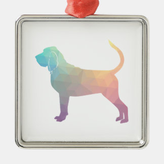 Bloodhound Colorful Geo Pattern Silhouette Pastel Silver-Colored Square Ornament