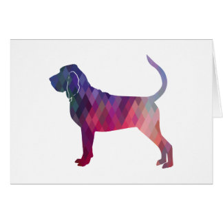 Bloodhound Colorful Geo Pattern Silhouette Pink Card