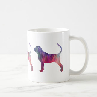 Bloodhound Colorful Geo Pattern Silhouette Pink Coffee Mug