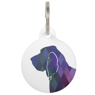 Bloodhound Colorful Geo Pattern Silhouette Pink Pet Name Tag