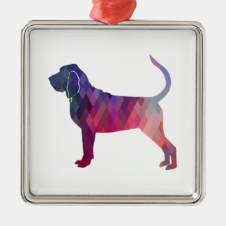 Bloodhound Colorful Geo Pattern Silhouette Pink Silver-Colored Square Ornament