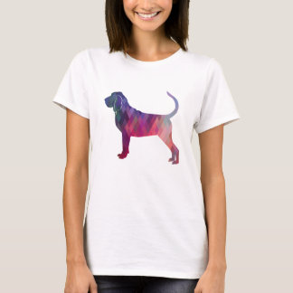 Bloodhound Colorful Geo Pattern Silhouette Pink T-Shirt