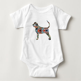 Bloodhound Colorful Geo Pattern Silhouette Plaid Baby Bodysuit