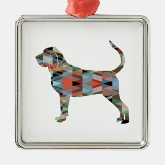 Bloodhound Colorful Geo Pattern Silhouette Plaid Silver-Colored Square Ornament