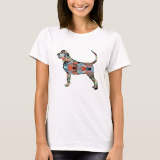 Bloodhound Colorful Geo Pattern Silhouette Plaid T-Shirt