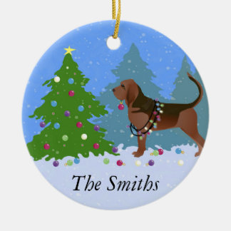 Bloodhound Dog Decorating Christmas Tree Ceramic Ornament