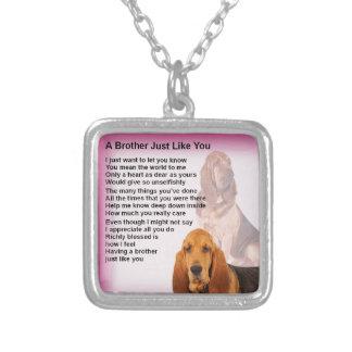 Bloodhound Dog Design & Brother Poem Silver Plated Necklace
