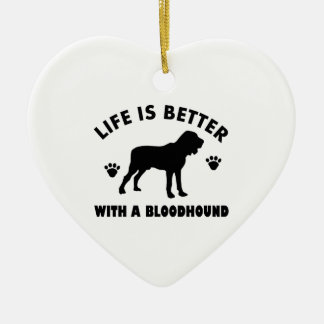 bloodhound dog design ceramic heart ornament
