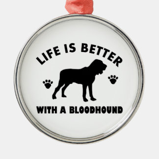 bloodhound dog design Silver-Colored round ornament