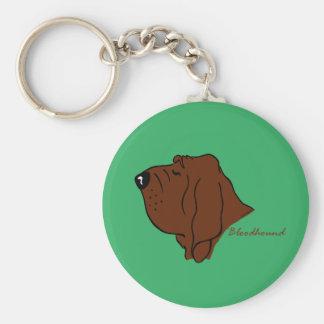 Bloodhound head silhouette basic round button keychain